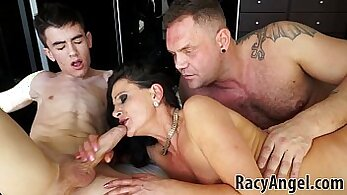 Black dude relaxes with sex and begins to fuck sexy MILF
