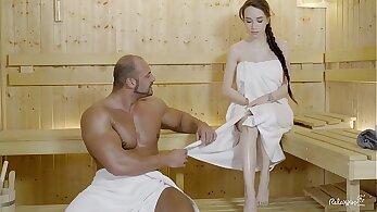 Russian black babe fucks at yoga