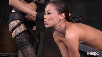 Wild asian slut oiled and sex toyed
