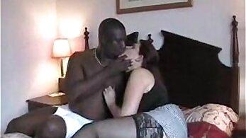 Black chick eagerly sucks white boyfriend in dorm room