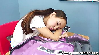 Asian teen Vanessa at school shows her pussy to her teacher