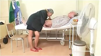 Skinny leather nurse blows young studs man load