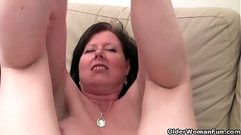 Busty British mom tight pussy fingered