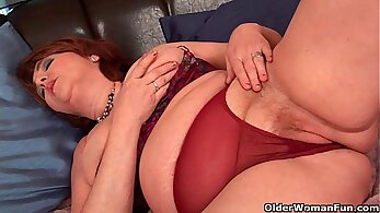 Busty grandmother gags for multiple orgasms