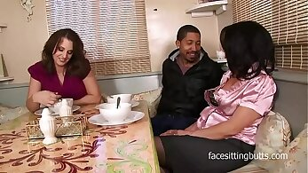 Two hot step mom Katrina and Morgan in an inner city threesome