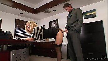 Belle & Renata Fucks Stockings Boss Musculine Female on Table