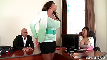 Busty eurobabe fucks in a sweaty threeway in his office
