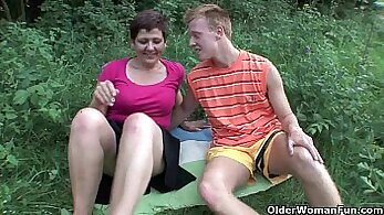 blindfold fetish bench Mom getting off with a banana