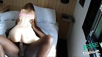 Big tittied bitch gives her pussy to a white dude