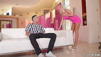 Busty blonde Naomi takes on two big dicks at once