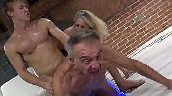 Cuckold stud fucks mature slut husband