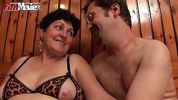 Big saggy tits granny Mireles fucking a man with cum
