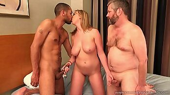 Cuckolds wife sucks and gets fucked by BBC