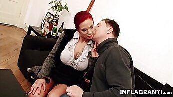 Bigtit redhead milf rides her boss dick
